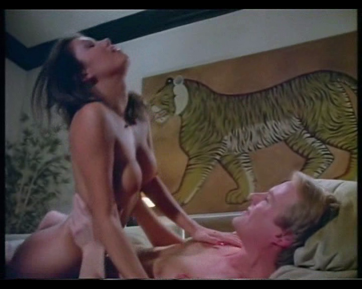 Naked woman rides a gormless man in front of the least realistic depiction of a tiger since Tony.